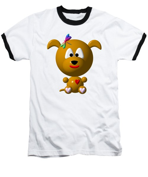 Cute Dog With Dragonfly Baseball T-Shirt by Rose Santuci-Sofranko
