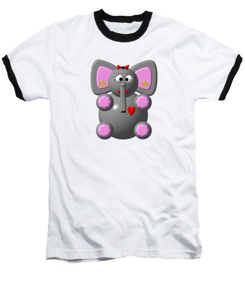 Cute Elephant Wearing Earrings Baseball T-Shirt by Rose Santuci-Sofranko