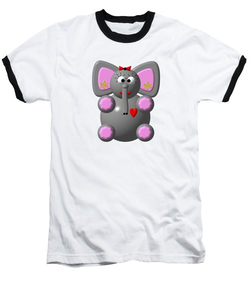 Baseball T-Shirt featuring the digital art Cute Elephant Wearing Earrings by Rose Santuci-Sofranko