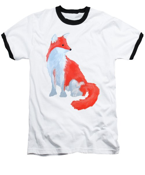 Cute Fox With Fluffy Tail Baseball T-Shirt