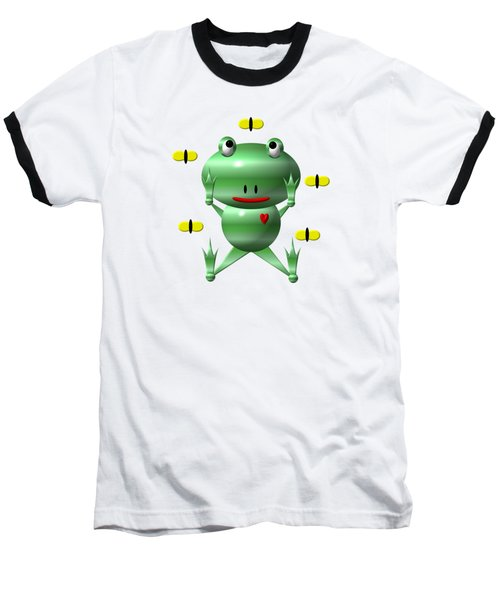 Cute Frog With Flies Baseball T-Shirt