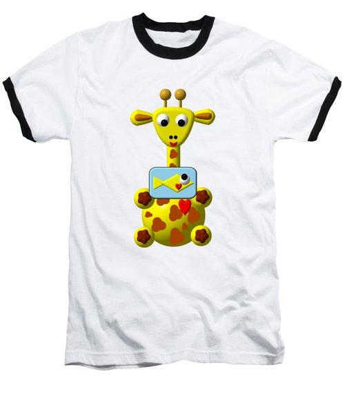 Cute Giraffe With Goldfish Baseball T-Shirt