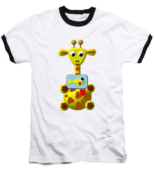 Baseball T-Shirt featuring the digital art Cute Giraffe With Goldfish by Rose Santuci-Sofranko