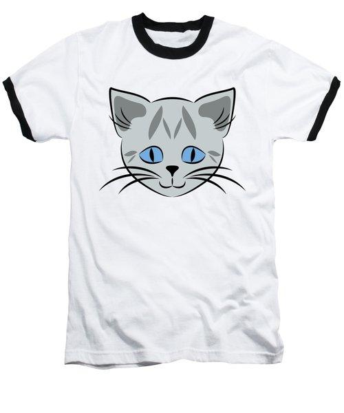 Cute Gray Tabby Cat Face Baseball T-Shirt
