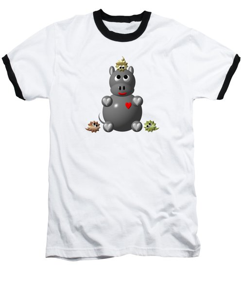Baseball T-Shirt featuring the digital art Cute Hippo With Hamsters by Rose Santuci-Sofranko