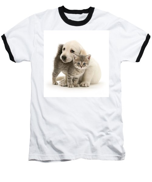 Cute Kitten And Perfect Puppy Baseball T-Shirt