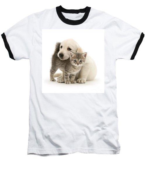 Cute Kitten And Perfect Puppy Baseball T-Shirt