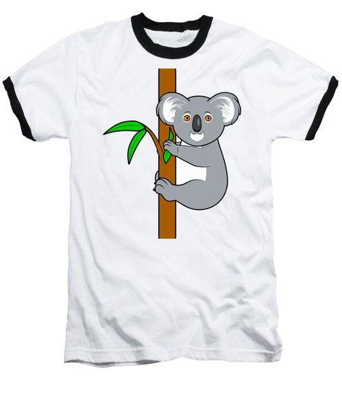 Koala With Eucalyptus Snack Baseball T-Shirt