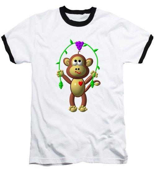 Cute Monkey Jumping Rope Baseball T-Shirt by Rose Santuci-Sofranko