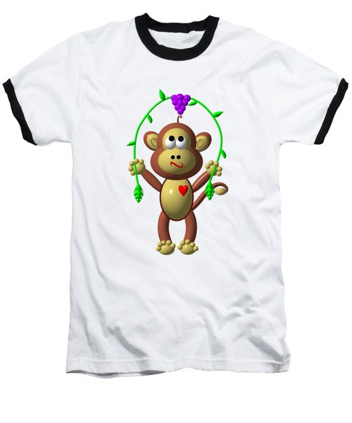 Cute Monkey Jumping Rope Baseball T-Shirt