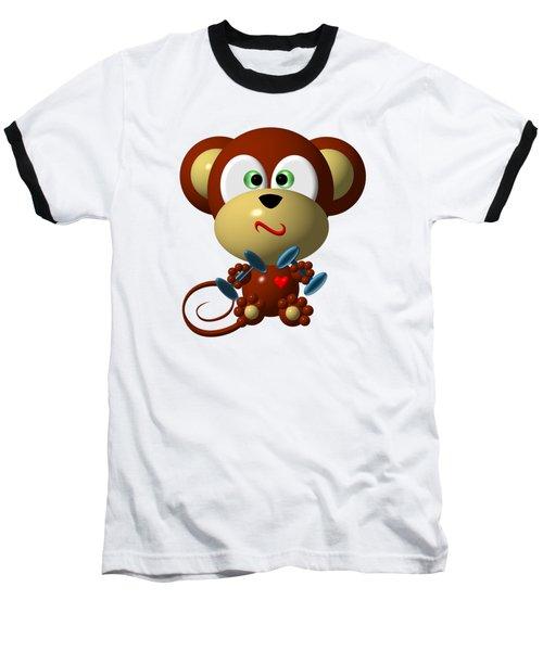 Cute Monkey Lifting Weights Baseball T-Shirt by Rose Santuci-Sofranko