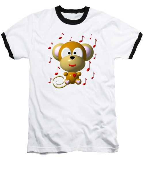 Cute Musical Monkey Baseball T-Shirt
