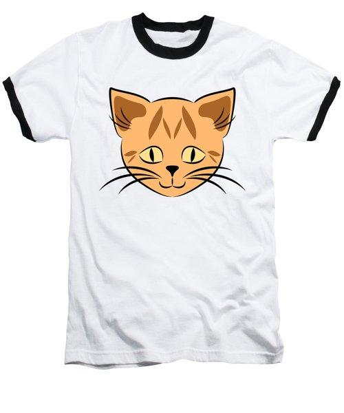 Cute Orange Tabby Cat Face Baseball T-Shirt