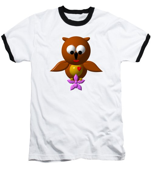 Cute Owl With Orchid Baseball T-Shirt