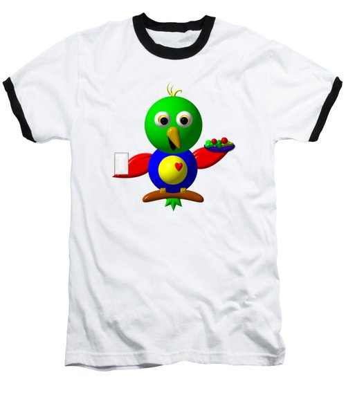 Cute Parrot With Healthy Salad And Milk Baseball T-Shirt by Rose Santuci-Sofranko