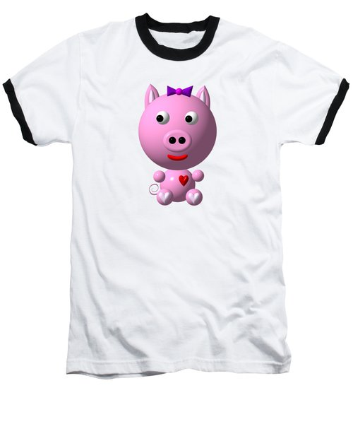 Baseball T-Shirt featuring the digital art Cute Pink Pig With Purple Bow by Rose Santuci-Sofranko