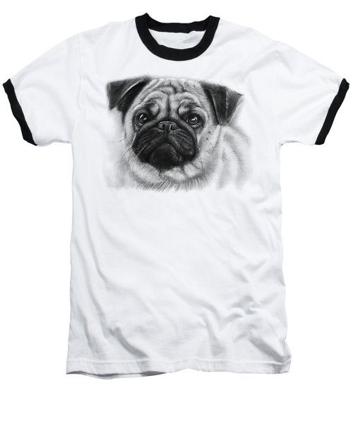 Cute Pug Baseball T-Shirt by Olga Shvartsur