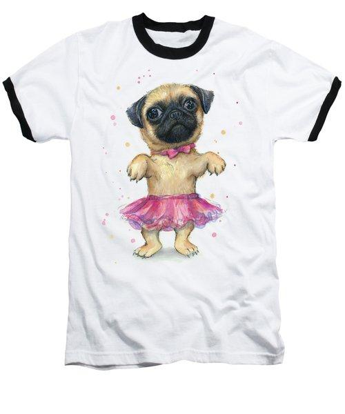 Cute Pug Puppy Baseball T-Shirt by Olga Shvartsur