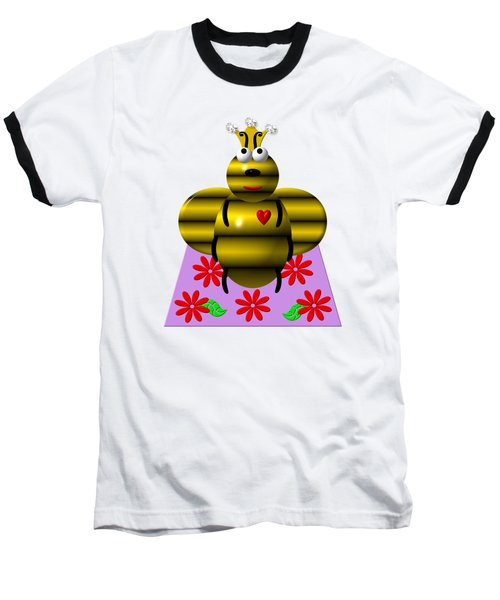 Baseball T-Shirt featuring the digital art Cute Queen Bee On A Quilt by Rose Santuci-Sofranko
