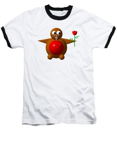 Cute Robin With Rose Baseball T-Shirt by Rose Santuci-Sofranko