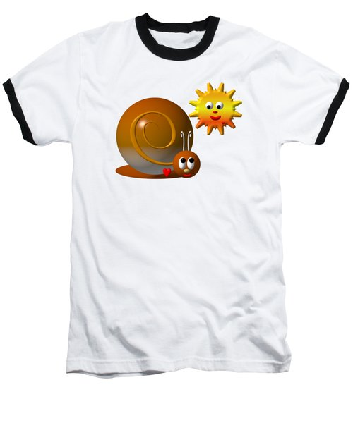 Baseball T-Shirt featuring the digital art Cute Snail With Smiling Sun by Rose Santuci-Sofranko