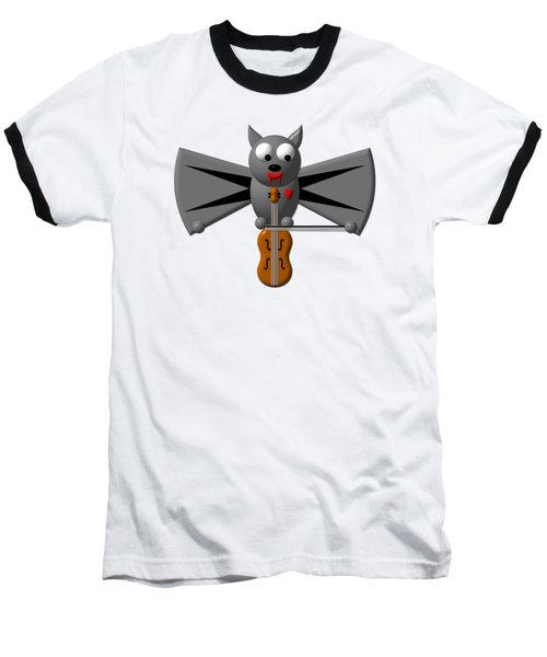 Cute Vampire Bat With Violin Baseball T-Shirt