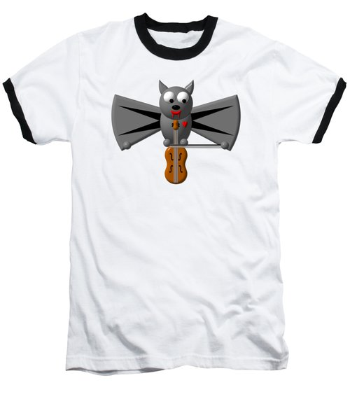 Baseball T-Shirt featuring the digital art Cute Vampire Bat With Violin by Rose Santuci-Sofranko