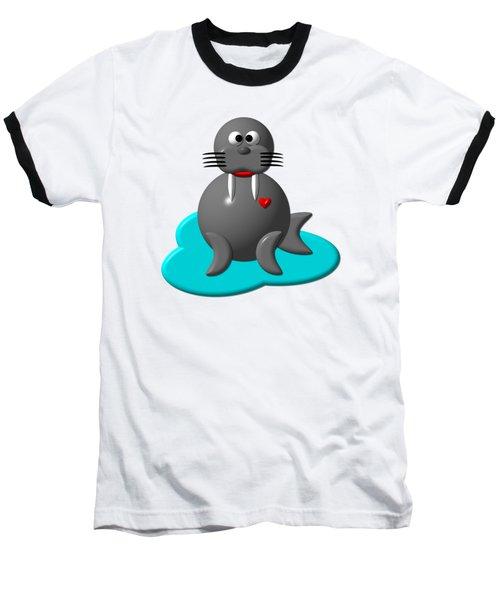 Cute Walrus In Water Baseball T-Shirt by Rose Santuci-Sofranko