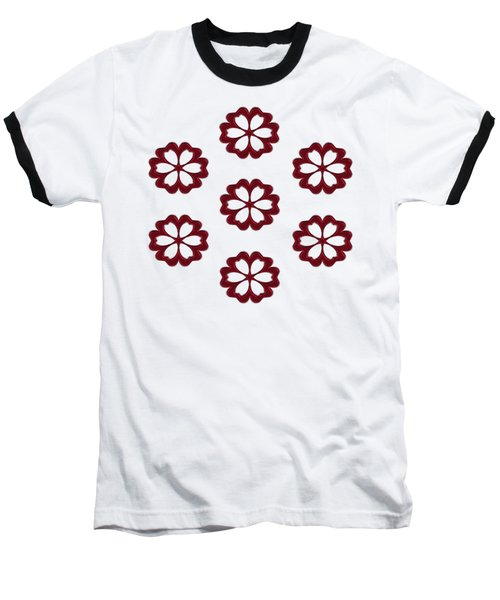 Cyber Flower Red Baseball T-Shirt