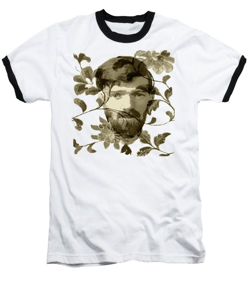 Baseball T-Shirt featuring the digital art D H Lawrence by Asok Mukhopadhyay