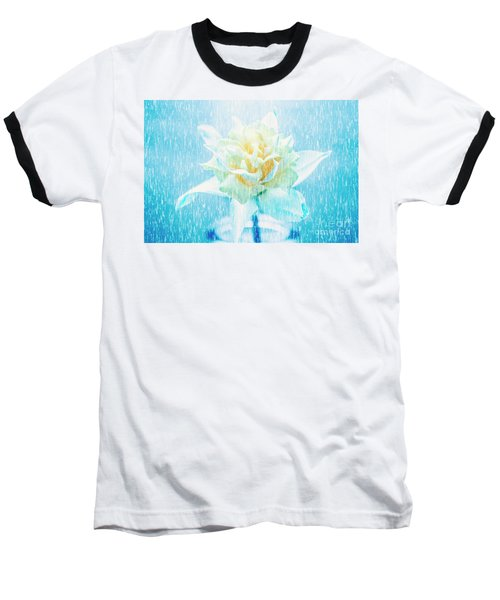 Baseball T-Shirt featuring the photograph Daffodil Flower In Rain. Digital Art by Jorgo Photography - Wall Art Gallery