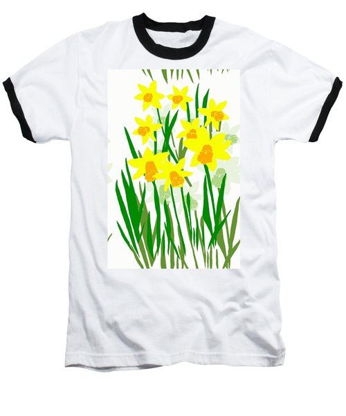 Baseball T-Shirt featuring the digital art Daffodils Drawing by Barbara Moignard