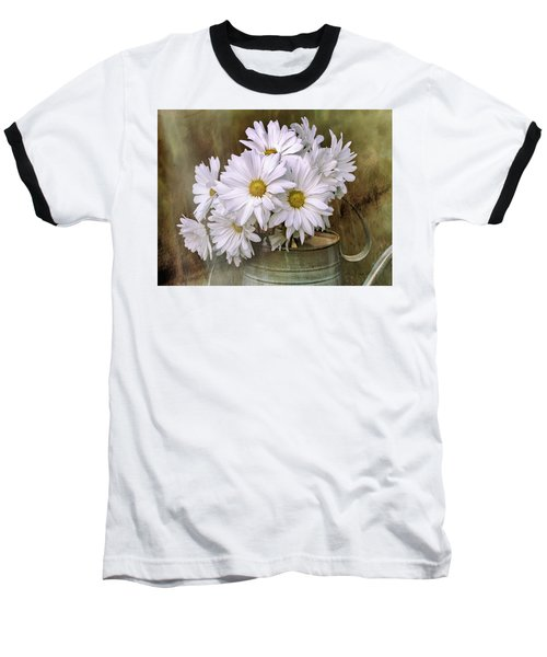 Baseball T-Shirt featuring the photograph Daisies In Antique Watering Can by Bellesouth Studio