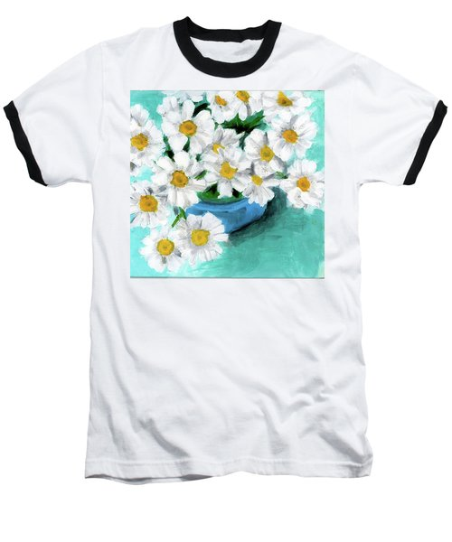Daisies In Blue Bowl Baseball T-Shirt