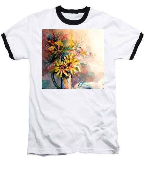 Daisy Day Baseball T-Shirt by Linda Shackelford