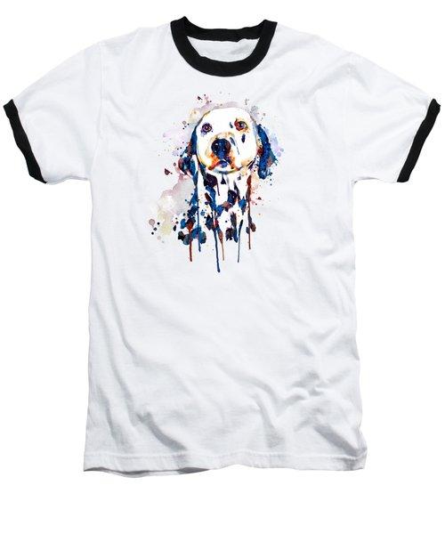 Dalmatian Head Baseball T-Shirt by Marian Voicu