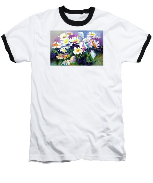 Baseball T-Shirt featuring the painting Dancing Daisies by Kathy Braud