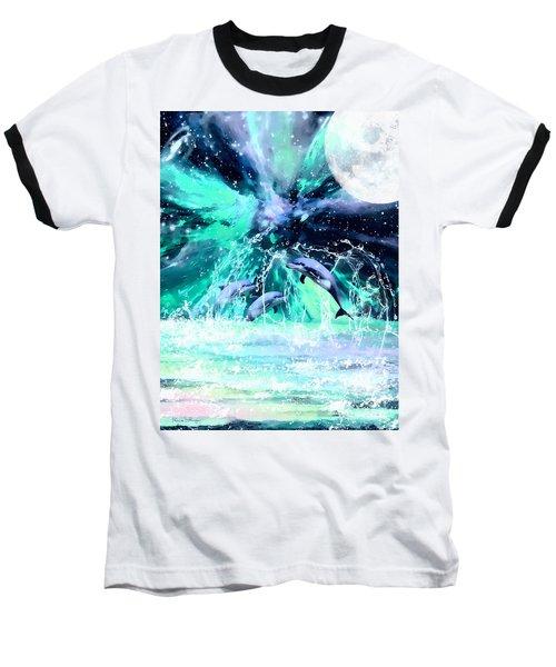 Dancing Dolphins Under The Moon Baseball T-Shirt