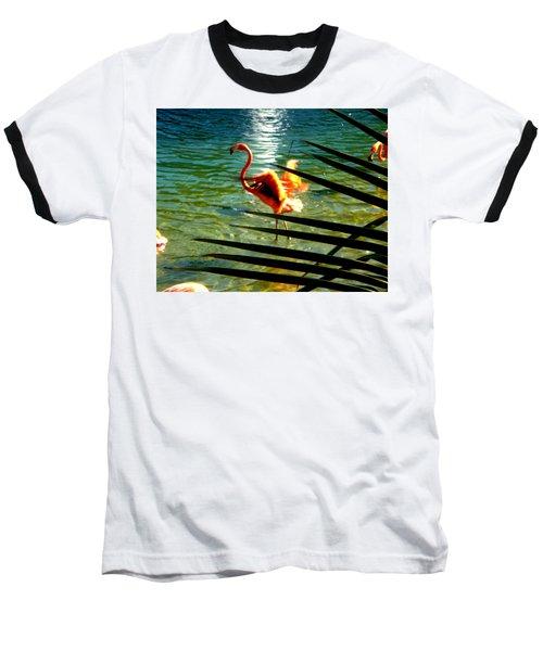 Dancing Flamingo Baseball T-Shirt by Yolanda Rodriguez