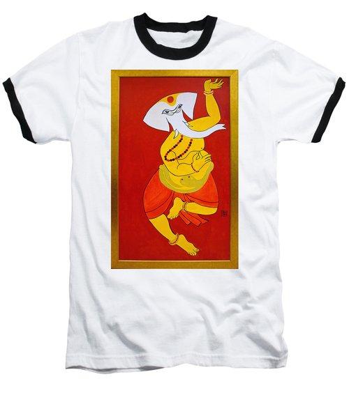 Baseball T-Shirt featuring the painting Dancing Ganesha by Guruji Aruneshvar Paris Art Curator Katrin Suter