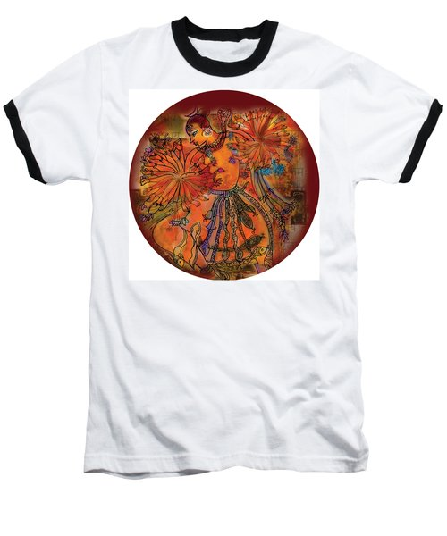 Baseball T-Shirt featuring the painting Dancing Shiva by Guruji Aruneshvar Paris Art Curator Katrin Suter