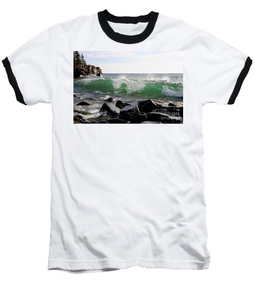 Dancing Waves Baseball T-Shirt by Sandra Updyke