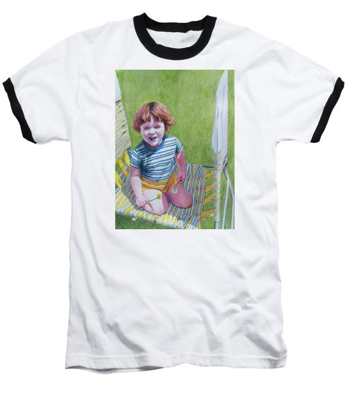 Baseball T-Shirt featuring the mixed media Dandelion Girl by Constance DRESCHER