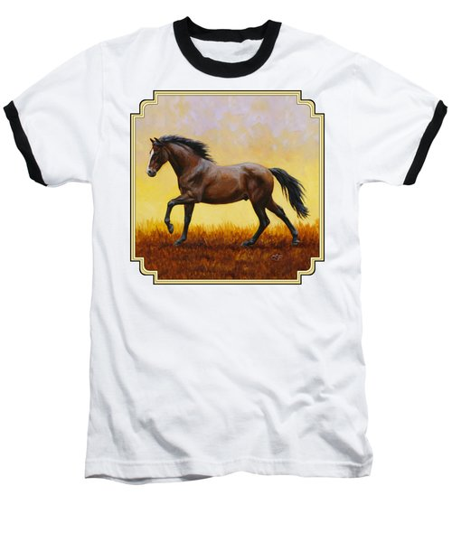 Dark Bay Running Horse Yellow Baseball T-Shirt