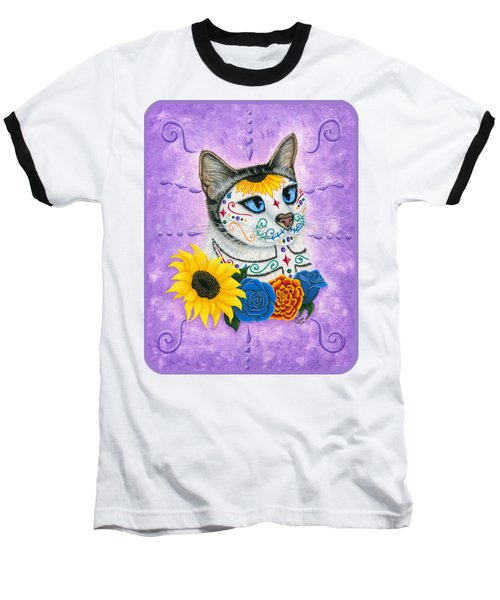 Day Of The Dead Cat Sunflowers - Sugar Skull Cat Baseball T-Shirt by Carrie Hawks