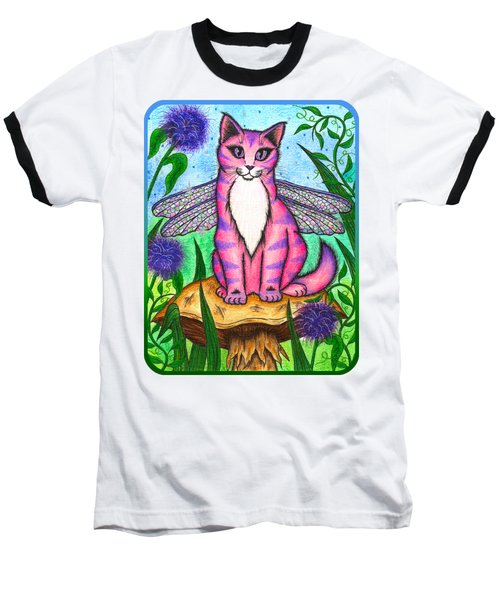 Dea Dragonfly Fairy Cat Baseball T-Shirt by Carrie Hawks
