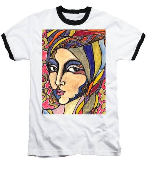 Baseball T-Shirt featuring the painting Decoface 3 by Rae Chichilnitsky