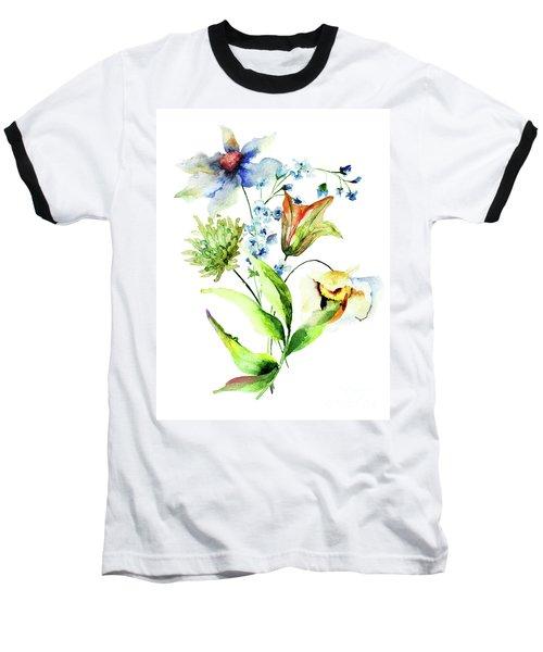 Decorative Flowers Baseball T-Shirt