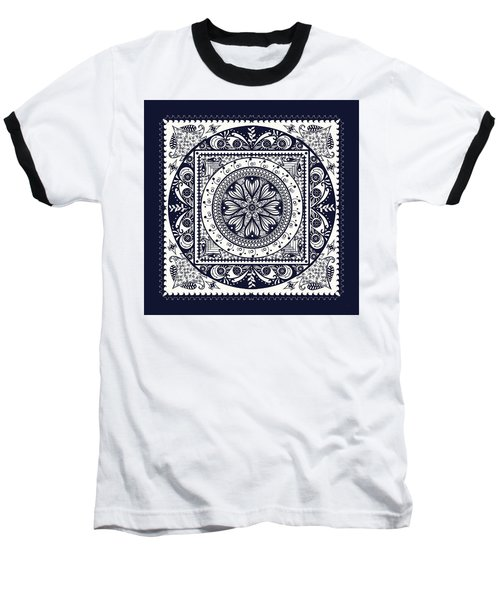 Deep Blue Classic Mandala Baseball T-Shirt by Deborah Smith