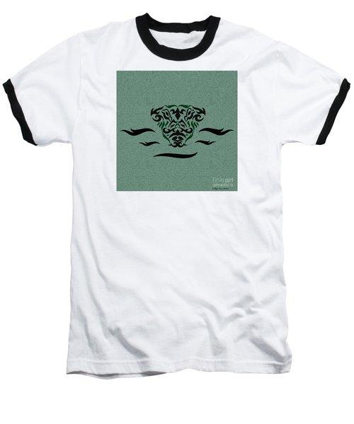 Baseball T-Shirt featuring the digital art Deep Green Tribal Gator by Megan Dirsa-DuBois